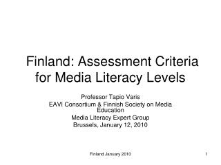 Finland: Evaluation Criteria for Media Education Levels