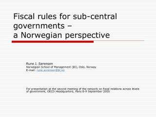 Financial standards for sub-focal governments