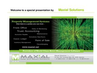 Welcome to an extraordinary presentation by Maxial Arrangements