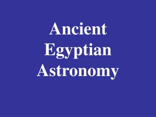 Antiquated Egyptian Space science