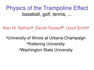 Material science of the Trampoline Impact baseball, golf, tennis, ...