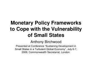 Fiscal Approach Structures to Adapt to the Weakness of Little States