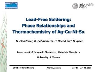Without lead Patching: Stage Connections and Thermochemistry of Ag-Cu-Ni-Sn