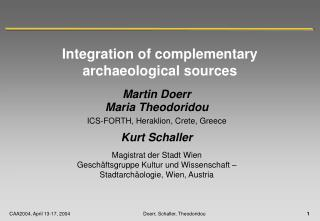 Incorporation of correlative archeological sources