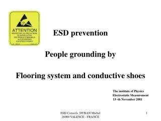 ESD aversion Individuals flooring so as to establish framework and conductive shoes The foundation of Material science