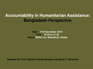 Responsibility in Philanthropic Help: Bangladesh Point of view