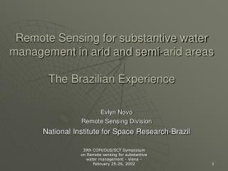 Remote Detecting for substantive water administration in bone-dry and semi-dry territories The Brazilian Experience