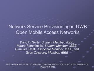 System Administration Provisioning in UWB Open Portable Access Systems