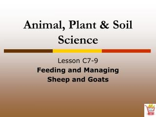 Creature, Plant and Soil Science