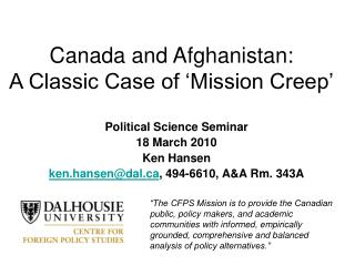 Canada and Afghanistan: A Great Instance of 'Mission Downer'