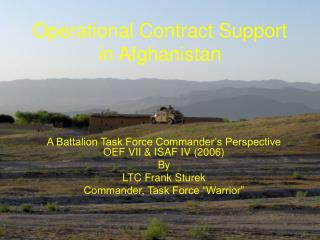 Operational Contract Support in Afghanistan