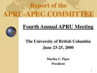 Report of the APRU-APEC Board of trustees