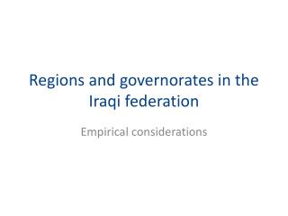 Locales and governorates in the Iraqi alliance