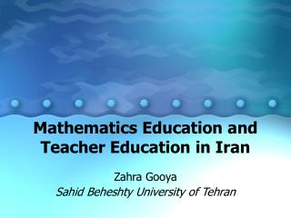 Arithmetic Instruction and Instructor Training in Iran