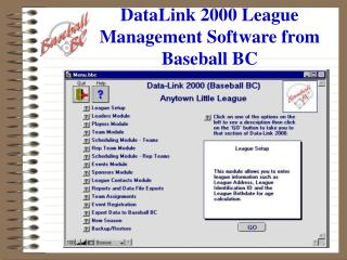 DataLink 2000 Class Administration Programming from Baseball BC