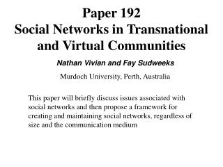 Paper 192 Interpersonal organizations in Transnational and Virtual Groups
