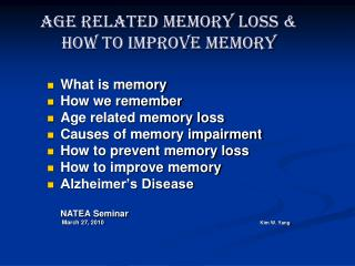 Age Related Memory Misfortune and How to Enhance Memory