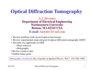 Optical Diffraction Tomography