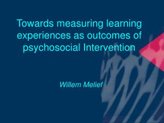 Towards measuring learning encounters as results of psychosocial Intercession