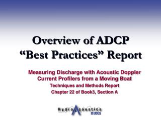 "Diagram of ADCP ""Best Practices"" Report"