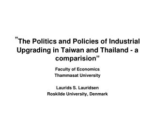 """ The Legislative issues and Arrangements of Mechanical Redesigning in Taiwan and Thailand - a comparision"""