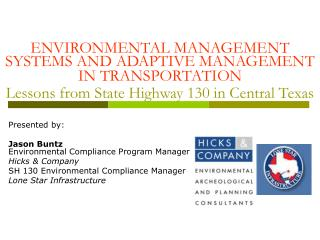 Ecological Administration Frameworks AND Versatile Administration IN TRANSPORTATION Lessons from State Thruway 130 in Fo