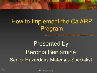 Instructions to Execute the CalARP Program