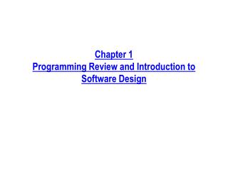Part 1 Programming Survey and Prologue to Programming Plan