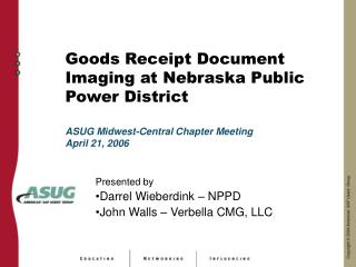 Products Receipt Report Imaging at Nebraska Open Force Area