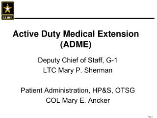 Dynamic Obligation Therapeutic Expansion (ADME)