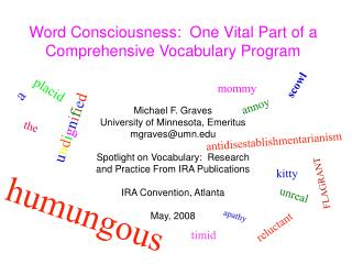 Word Cognizance: One Indispensable Part of a Far reaching Vocabulary Program