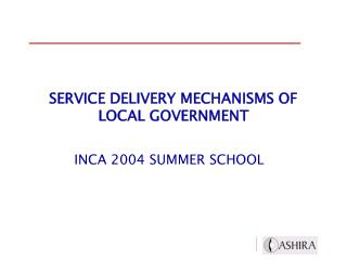 Administration Conveyance Components OF Neighborhood GOVERNMENT