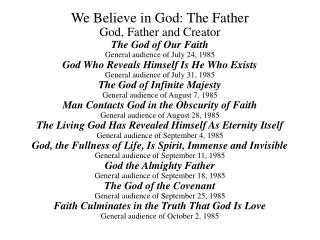 We Trust in God: The Father