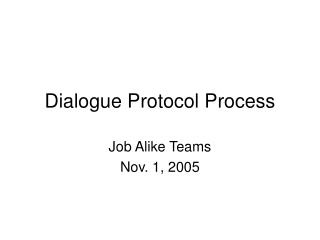 Dialog Convention Process