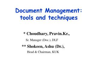 Report Administration: instruments and methods