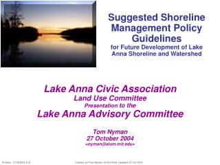 Proposed Shoreline Administration Approach Rules for Future Improvement of Lake Anna Shoreline and Watershed