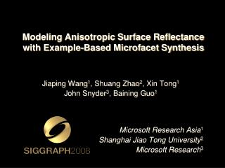 Demonstrating Anisotropic Surface Reflectance with Illustration Based Microfacet Combination