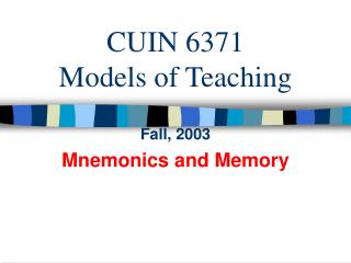 CUIN 6371 Models of Educating
