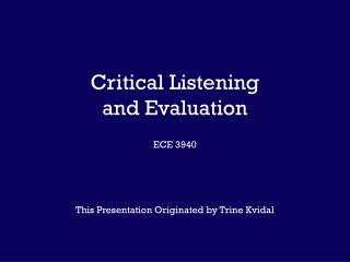 Basic Listening and Assessment ECE 3940
