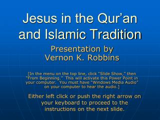 Jesus in the Qur'an and Islamic Convention