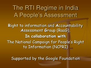 The RTI Administration in India An Individuals' Appraisal