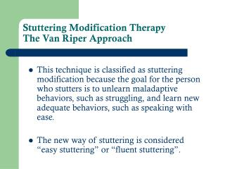 Stammering Change Treatment The Van Riper Approach