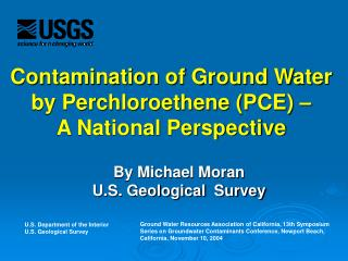 Tainting of Ground Water by Perchloroethene (PCE)