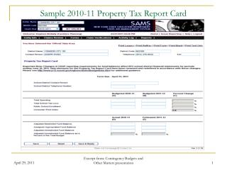 Test 2010-11 Property Charge Report Card