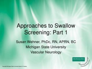 Ways to deal with Swallow Screening: Section 1