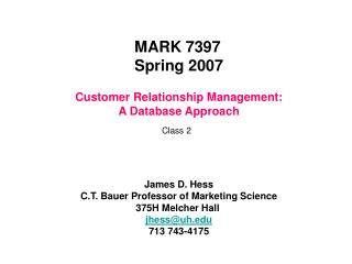 Client Relationship Administration: A Database Approach