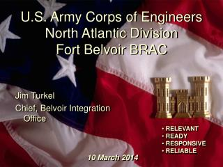 U.S. Armed force Corps of Specialists North Atlantic Division Stronghold Belvoir BRAC