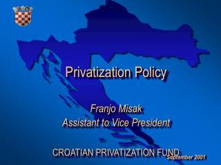 Privatization Approach Franjo Misak Aide to VP CROATIAN PRIVATIZATION Store