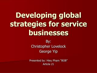 Creating worldwide systems for administration organizations