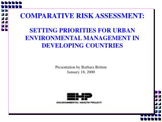 Similar Danger Evaluation: SETTING Needs FOR URBAN Natural Administration IN Creating Nations